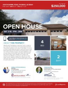 Open house Sun March 16th 1 – 3:30, 2134 W Darrell Rd, Phoenix, AZ 85041