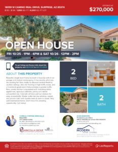 OPEN HOUSE ALERT! 18059 W CAMINO REAL DR, SURPRISE, AZ 85374 – Arizona Traditions Homes